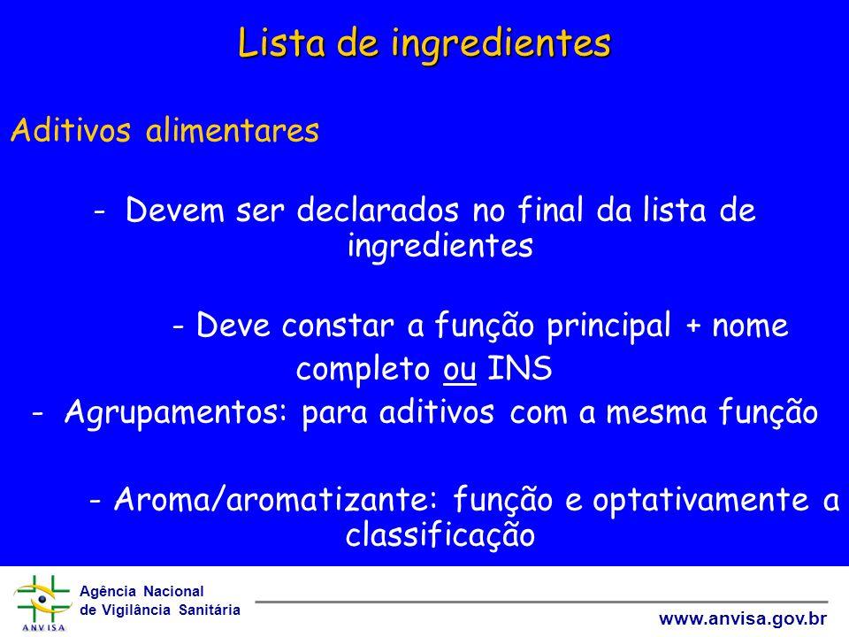 Lista de ingredientes Aditivos alimentares