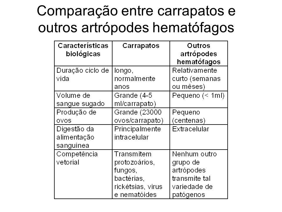 Comparação entre carrapatos e outros artrópodes hematófagos