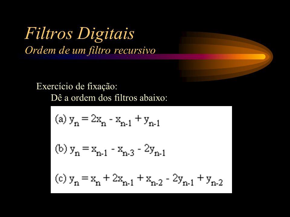 Filtros Digitais Ordem de um filtro recursivo