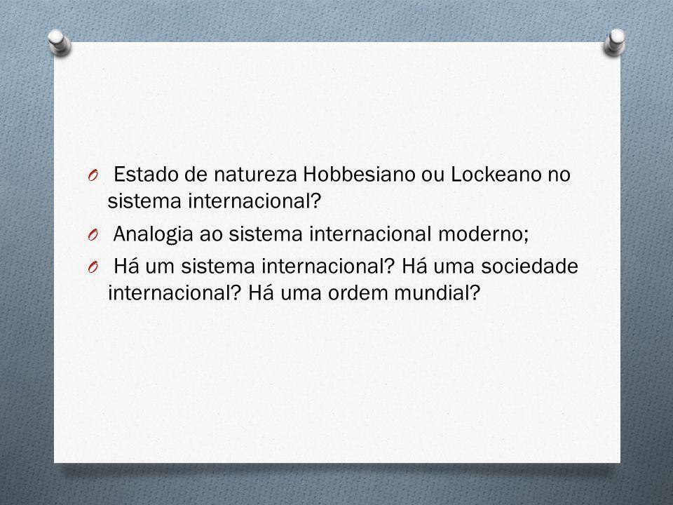 Estado de natureza Hobbesiano ou Lockeano no sistema internacional