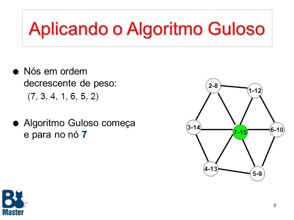 Aplicando o Algoritmo Guloso