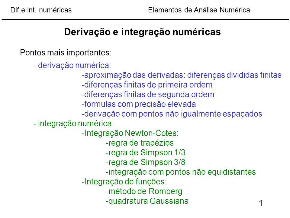 Derivação e integração numéricas