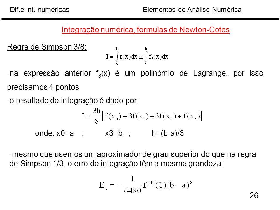 Integração numérica, formulas de Newton-Cotes