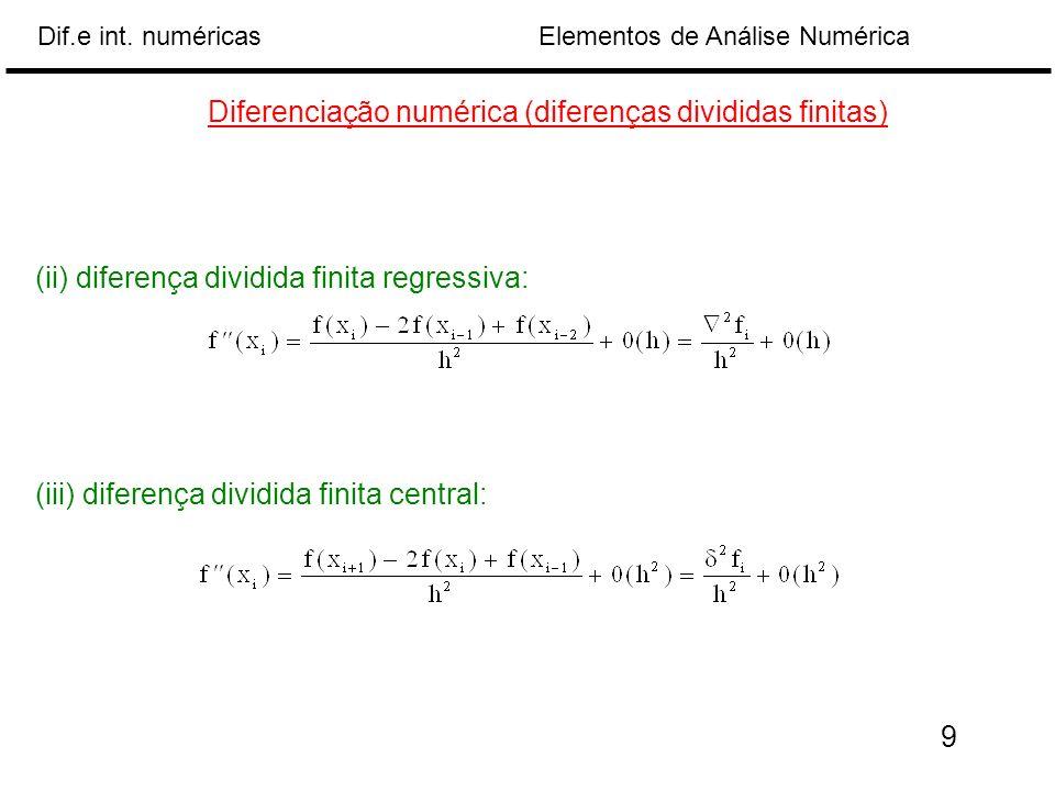 Diferenciação numérica (diferenças divididas finitas)