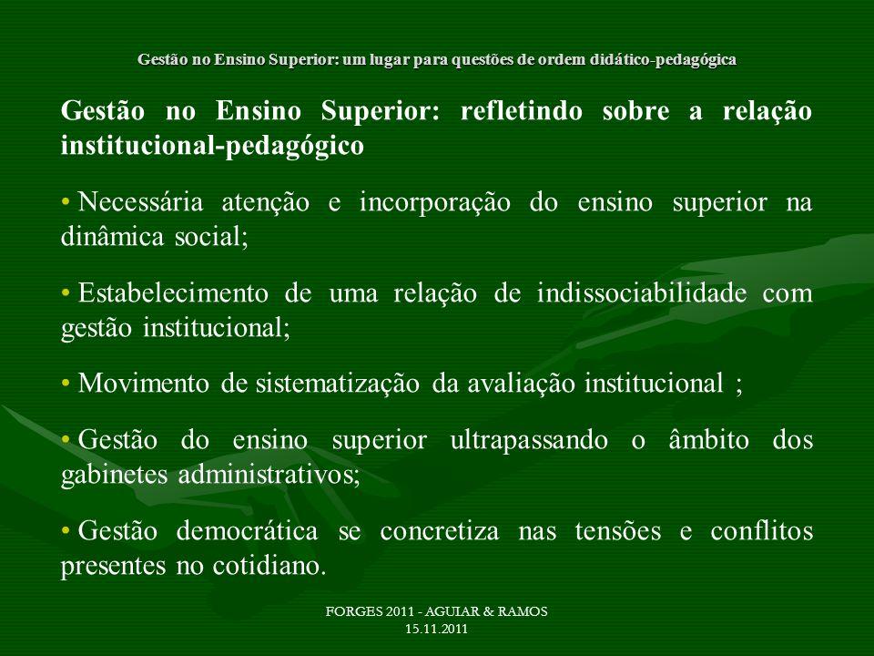 Movimento de sistematização da avaliação institucional ;