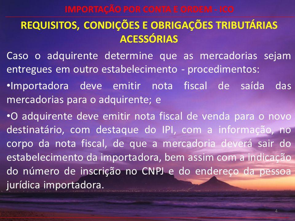 REQUISITOS, CONDIÇÕES E OBRIGAÇÕES TRIBUTÁRIAS ACESSÓRIAS