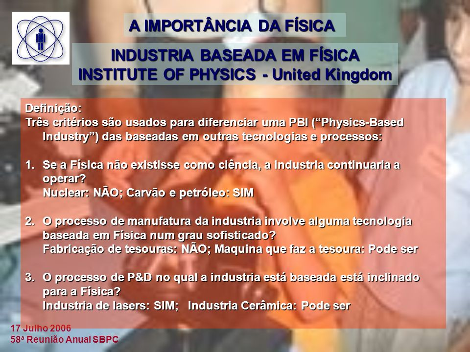INDUSTRIA BASEADA EM FÍSICA INSTITUTE OF PHYSICS - United Kingdom