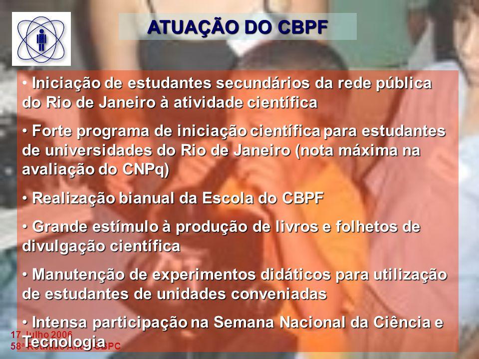 ATUAÇÃO DO CBPF Iniciação de estudantes secundários da rede pública do Rio de Janeiro à atividade científica.