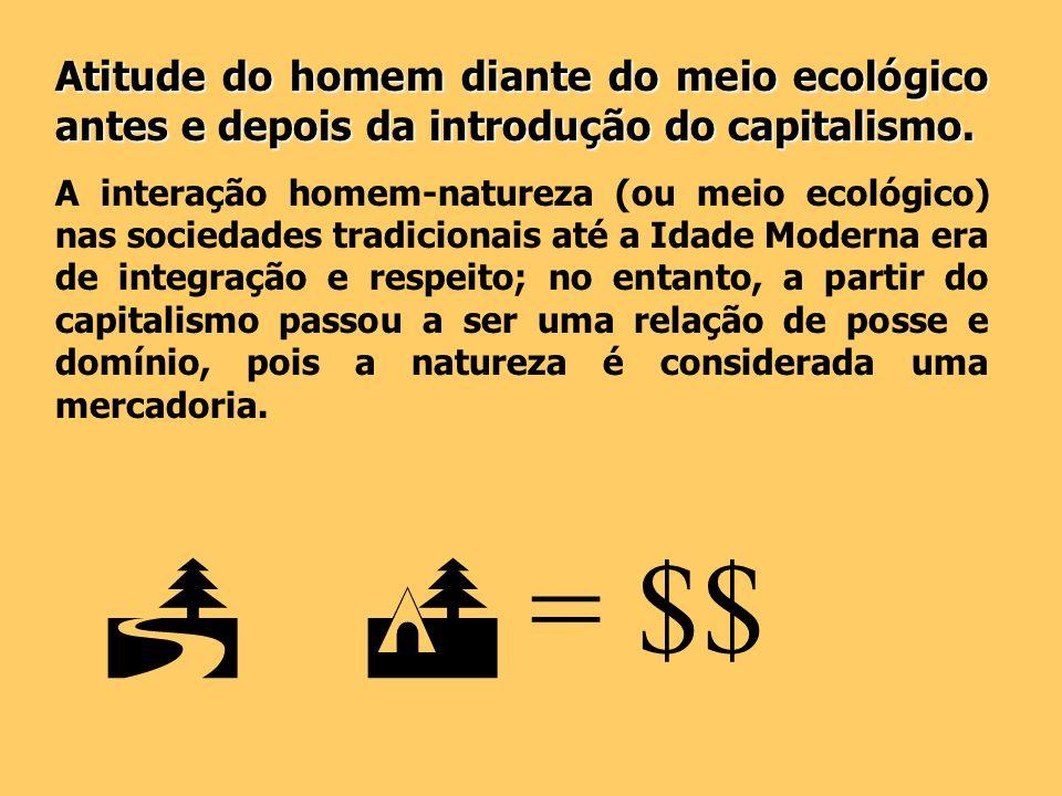 Atitude do homem diante do meio ecológico antes e depois da introdução do capitalismo.