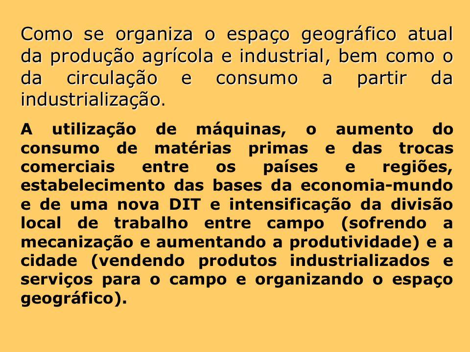Como se organiza o espaço geográfico atual da produção agrícola e industrial, bem como o da circulação e consumo a partir da industrialização.