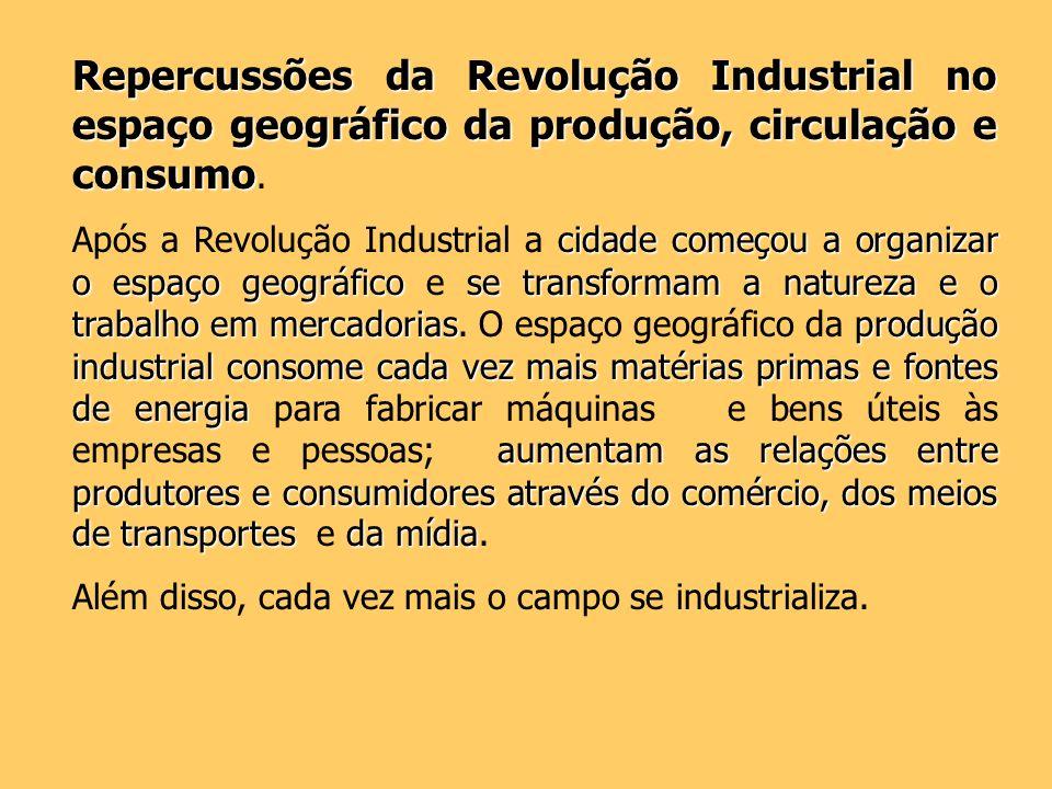 Repercussões da Revolução Industrial no espaço geográfico da produção, circulação e consumo.