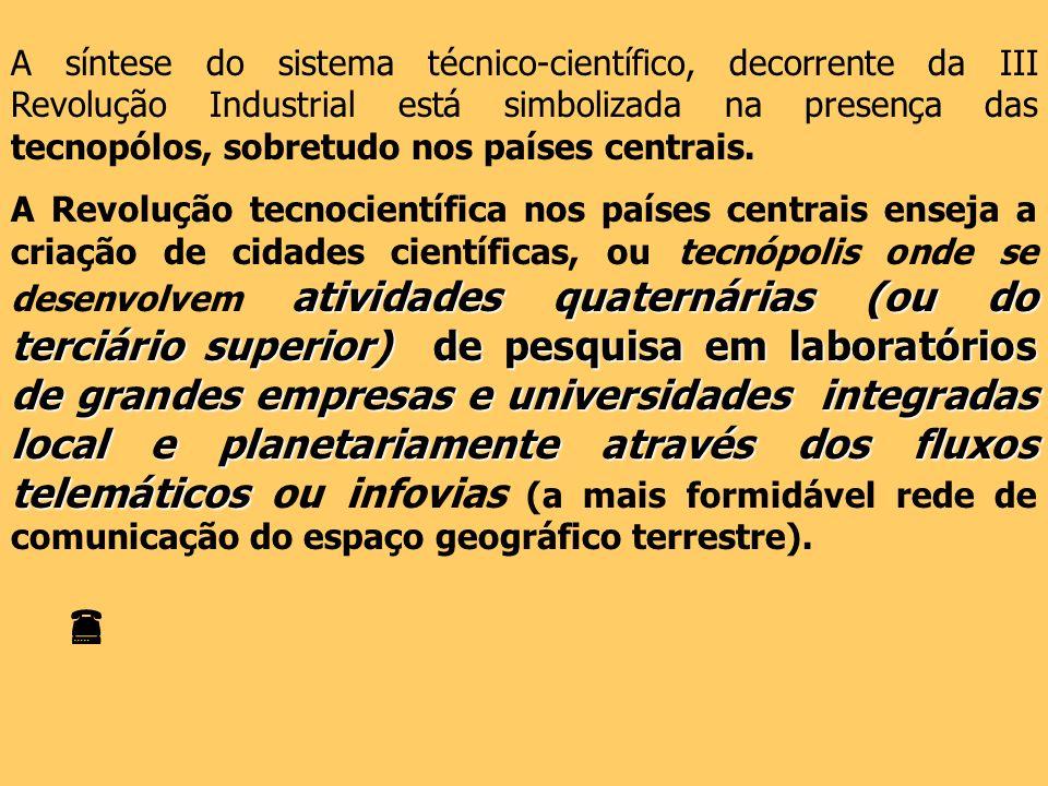 A síntese do sistema técnico-científico, decorrente da III Revolução Industrial está simbolizada na presença das tecnopólos, sobretudo nos países centrais.