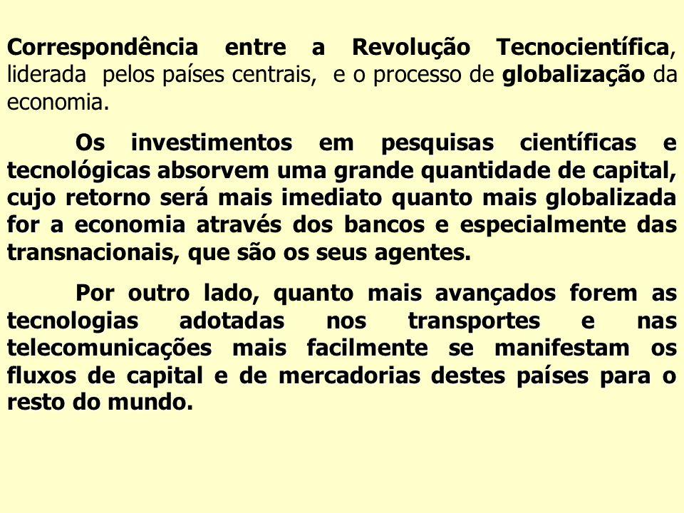 Correspondência entre a Revolução Tecnocientífica, liderada pelos países centrais, e o processo de globalização da economia.