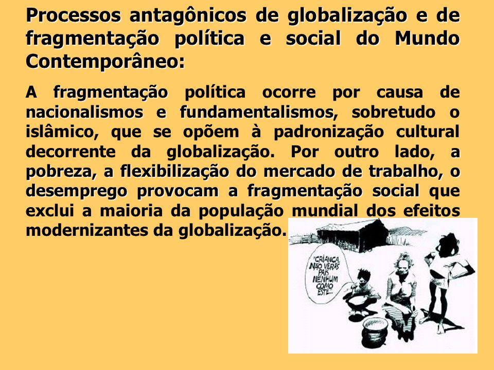 Processos antagônicos de globalização e de fragmentação política e social do Mundo Contemporâneo: