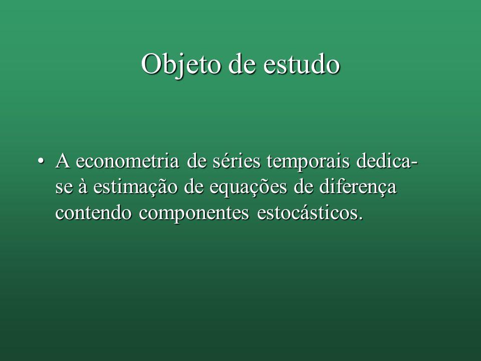 Objeto de estudo A econometria de séries temporais dedica-se à estimação de equações de diferença contendo componentes estocásticos.