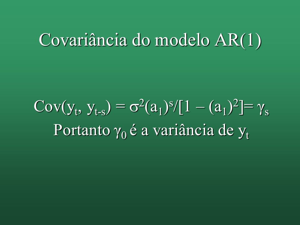 Covariância do modelo AR(1)