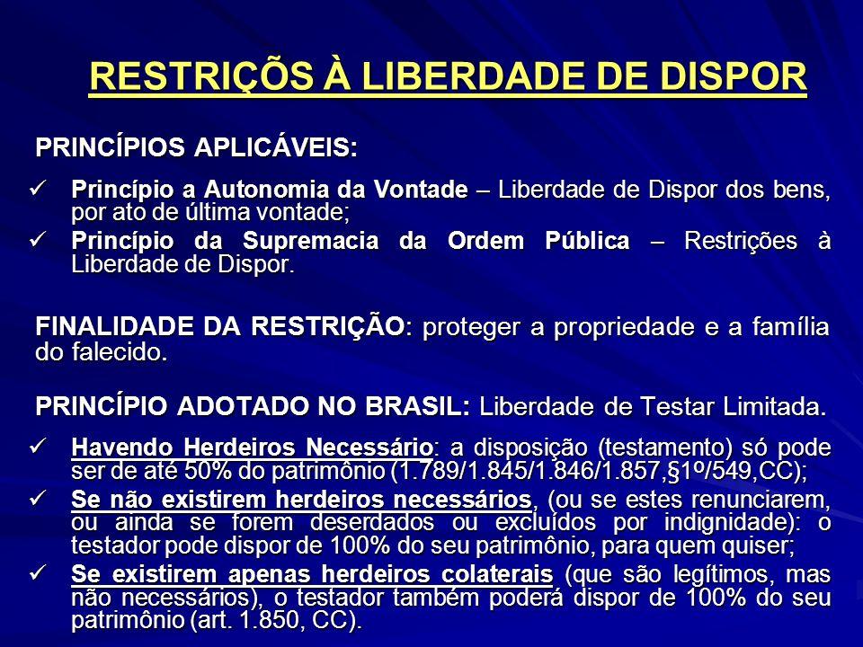 RESTRIÇÕS À LIBERDADE DE DISPOR