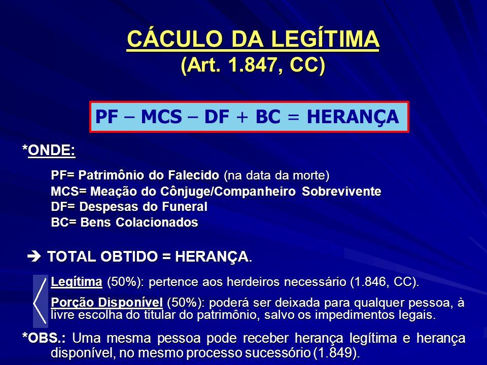 CÁCULO DA LEGÍTIMA (Art. 1.847, CC)