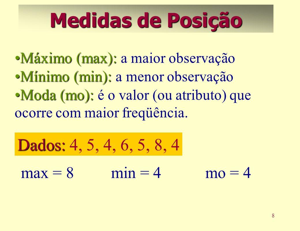 Medidas de Posição Dados: 4, 5, 4, 6, 5, 8, 4 max = 8 min = 4 mo = 4