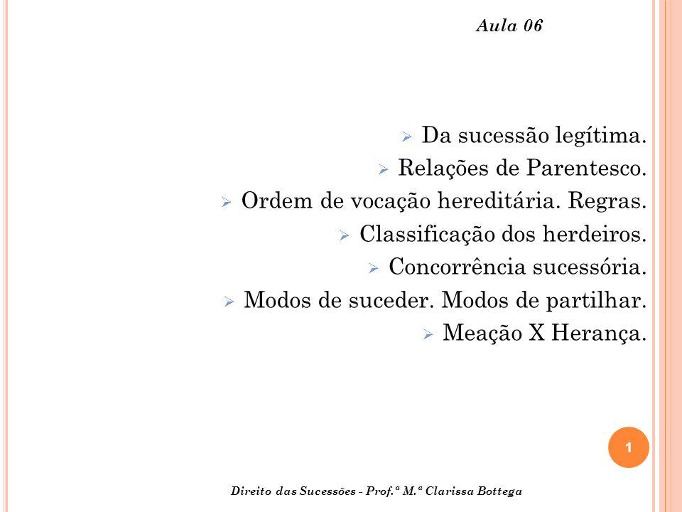 Relações de Parentesco. Ordem de vocação hereditária. Regras.