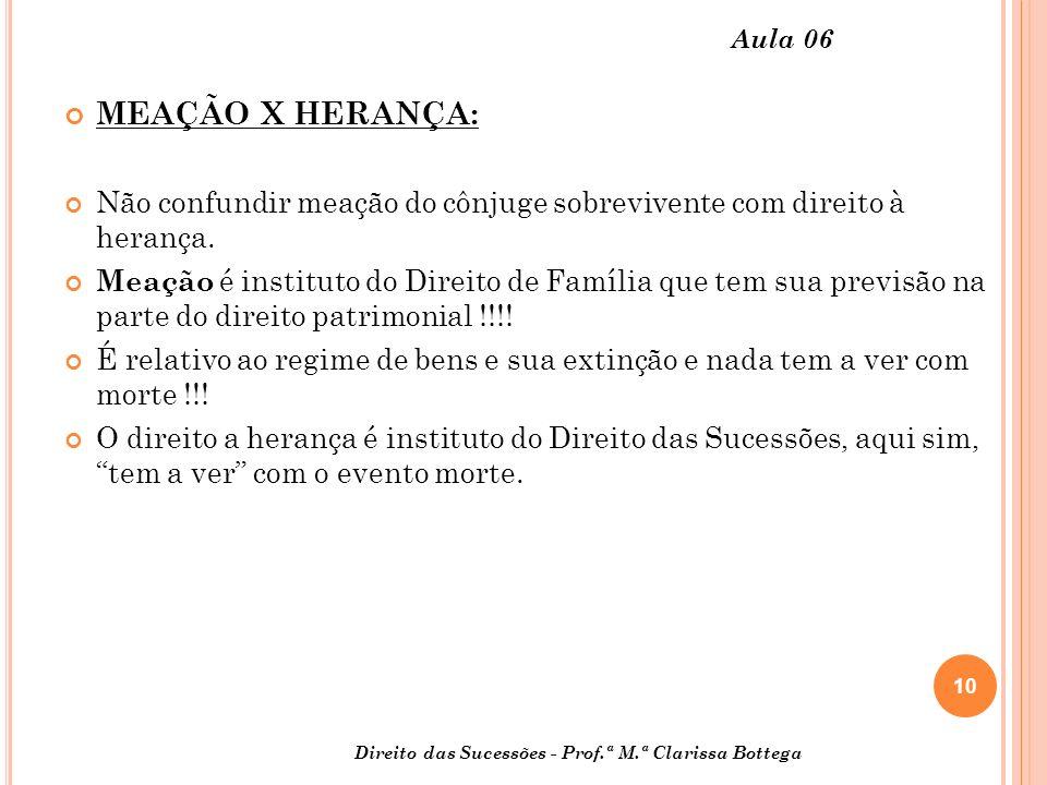 Aula 06 MEAÇÃO X HERANÇA: Não confundir meação do cônjuge sobrevivente com direito à herança.