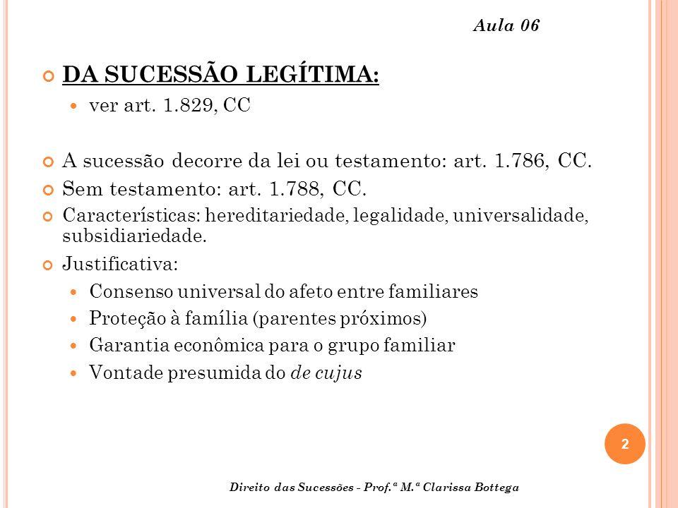 Aula 06 DA SUCESSÃO LEGÍTIMA: ver art. 1.829, CC. A sucessão decorre da lei ou testamento: art. 1.786, CC.