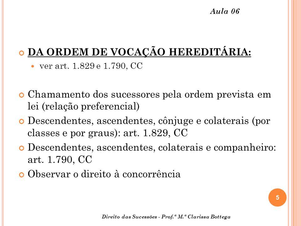 DA ORDEM DE VOCAÇÃO HEREDITÁRIA: