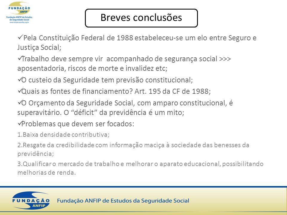 Breves conclusões Pela Constituição Federal de 1988 estabeleceu-se um elo entre Seguro e Justiça Social;