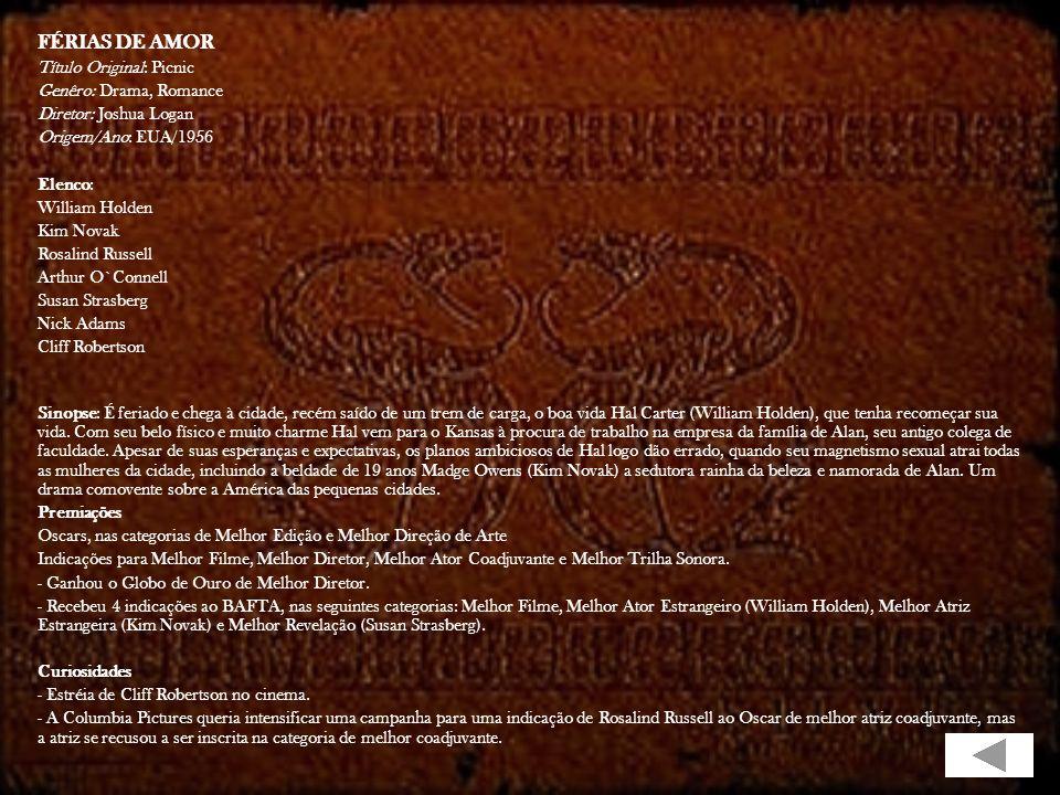FÉRIAS DE AMOR Título Original: Picnic Genêro: Drama, Romance