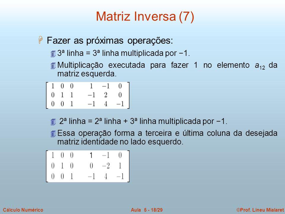 Matriz Inversa (7) Fazer as próximas operações: