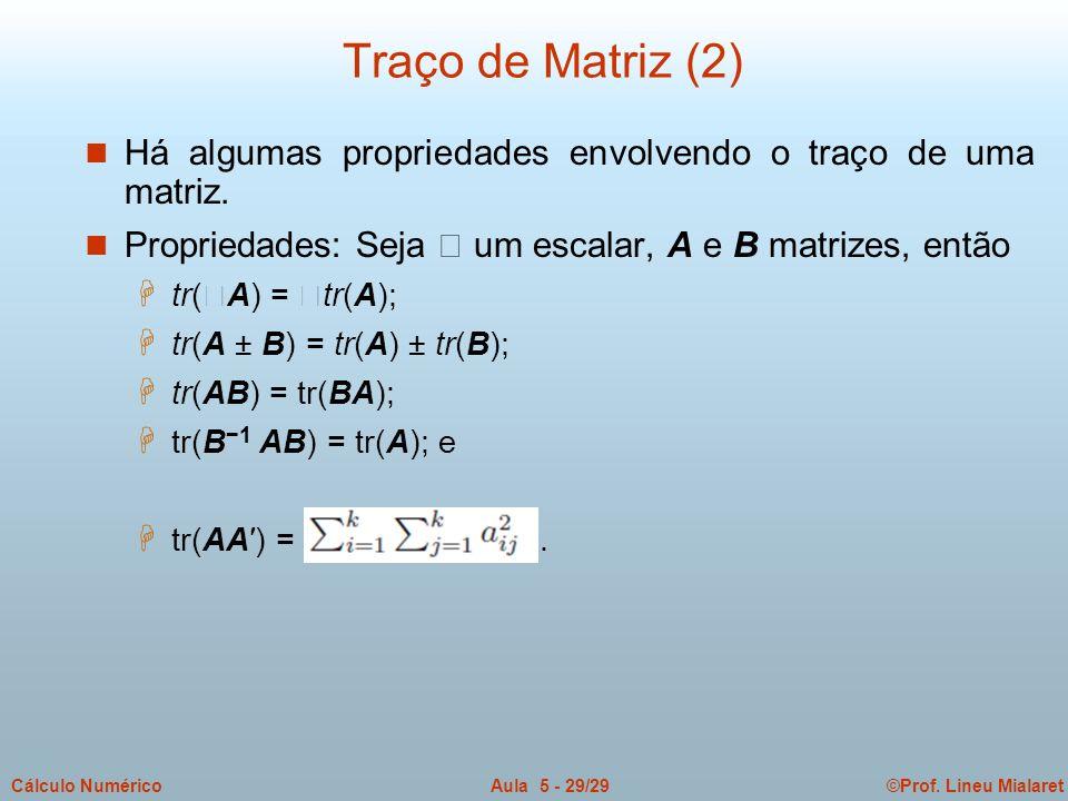 Traço de Matriz (2) Há algumas propriedades envolvendo o traço de uma matriz. Propriedades: Seja  um escalar, A e B matrizes, então.