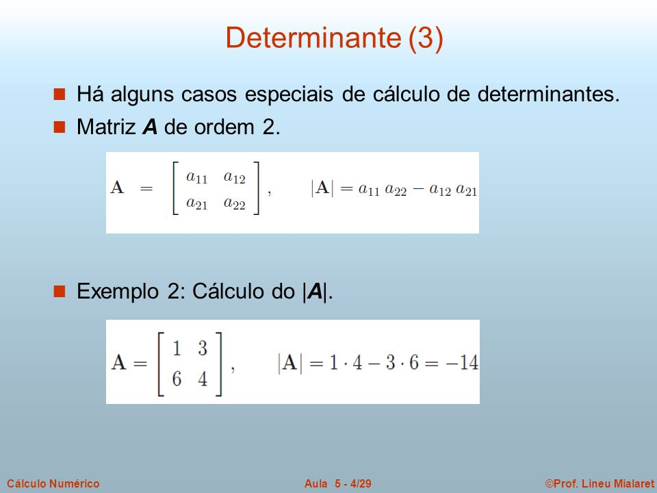 Determinante (3) Há alguns casos especiais de cálculo de determinantes.