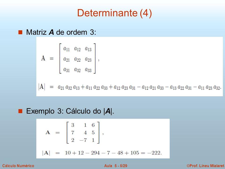Determinante (4) Matriz A de ordem 3: Exemplo 3: Cálculo do |A|.