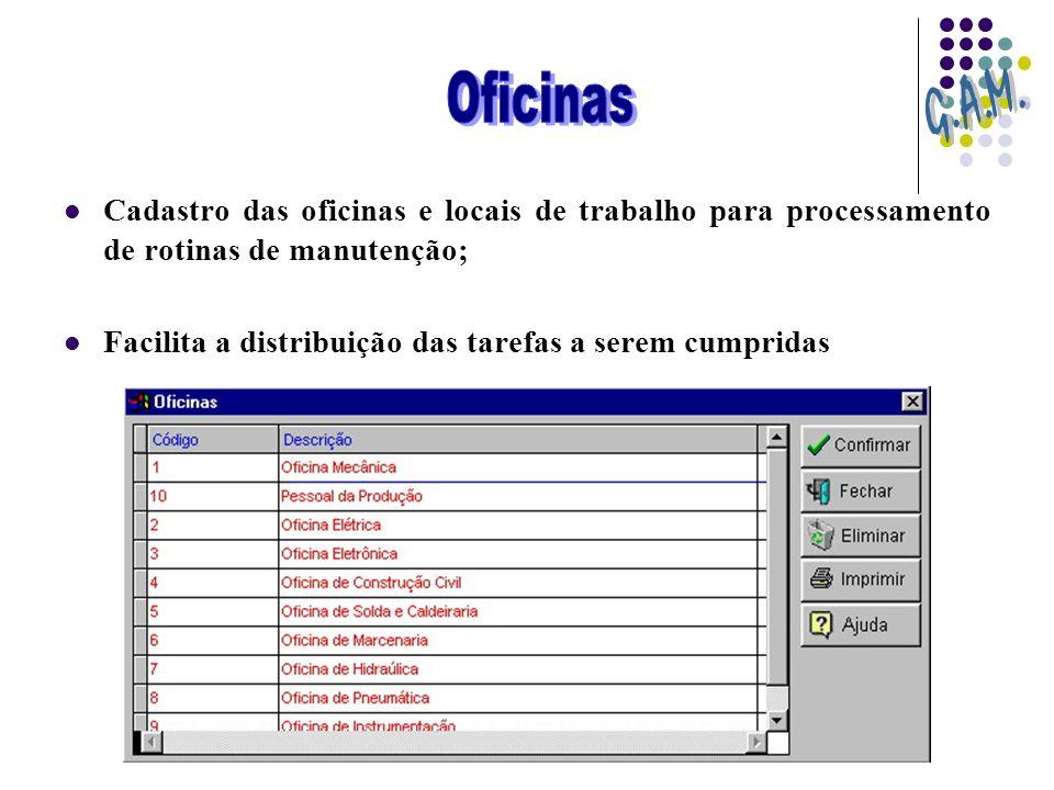 Oficinas G.A.M. Cadastro das oficinas e locais de trabalho para processamento de rotinas de manutenção;