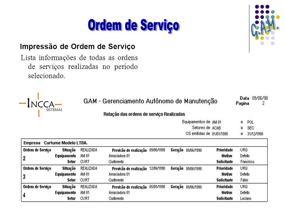Impressão de Ordem de Serviço