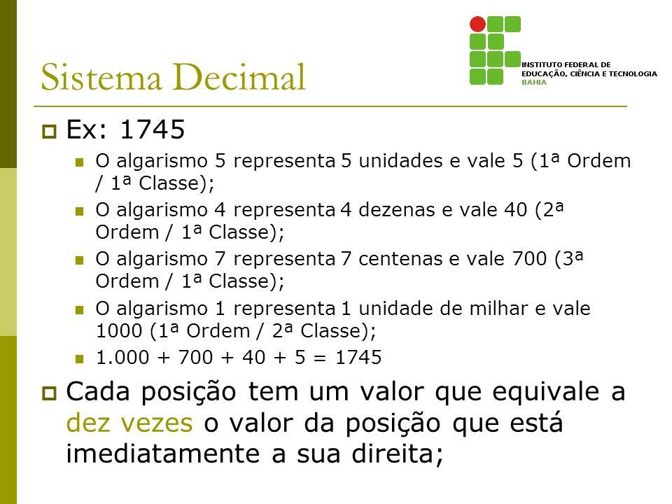 Sistema Decimal Ex: 1745. O algarismo 5 representa 5 unidades e vale 5 (1ª Ordem / 1ª Classe);