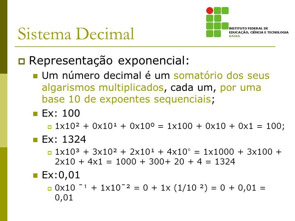 Sistema Decimal Representação exponencial: