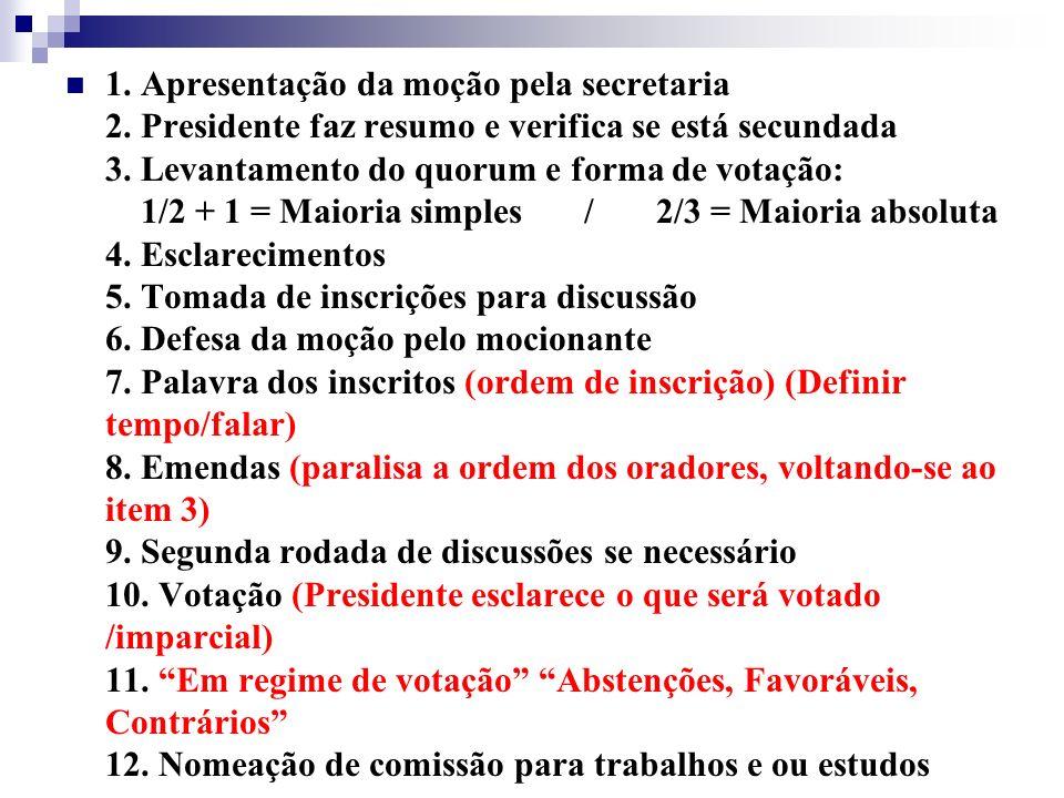 1. Apresentação da moção pela secretaria 2