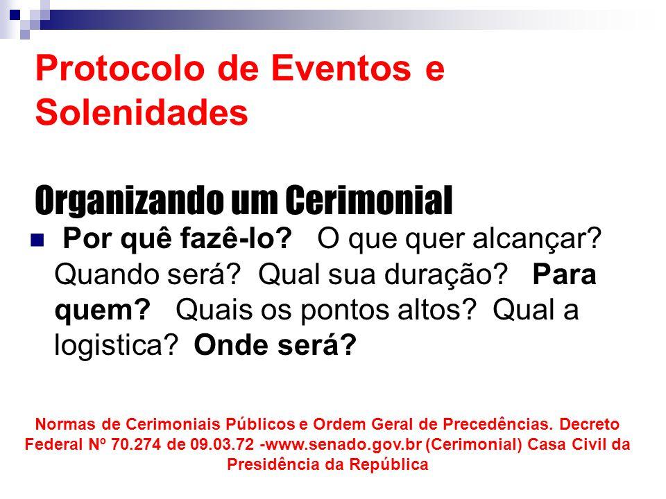 Protocolo de Eventos e Solenidades Organizando um Cerimonial