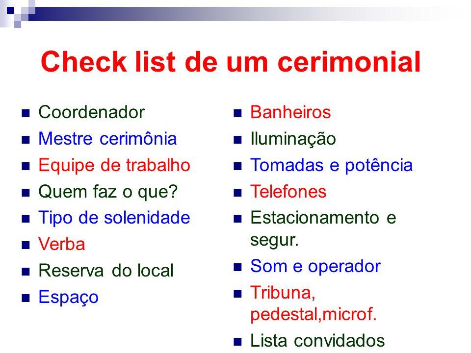Check list de um cerimonial