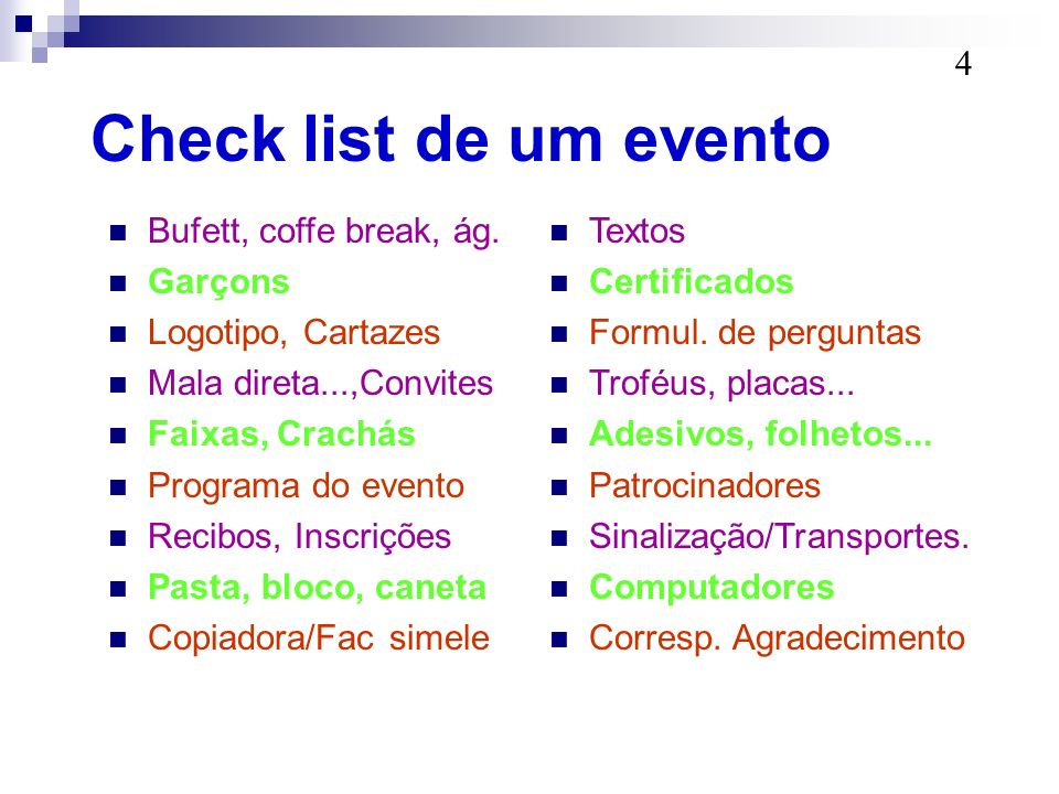 Check list de um evento 4 Bufett, coffe break, ág. Garçons