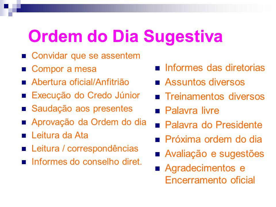Ordem do Dia Sugestiva Informes das diretorias Assuntos diversos