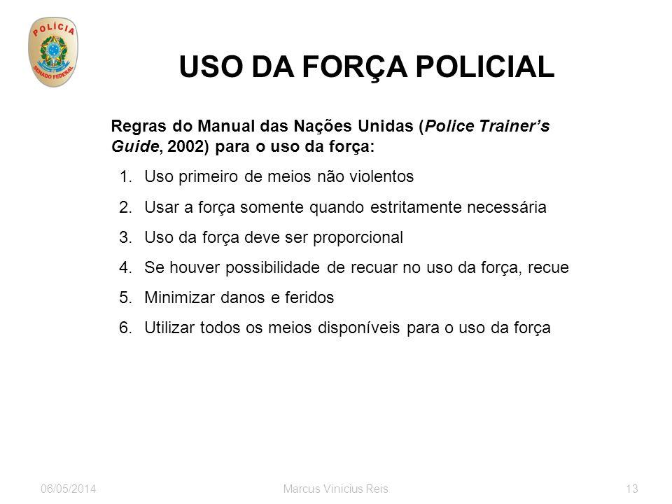 USO DA FORÇA POLICIAL Regras do Manual das Nações Unidas (Police Trainer's Guide, 2002) para o uso da força: