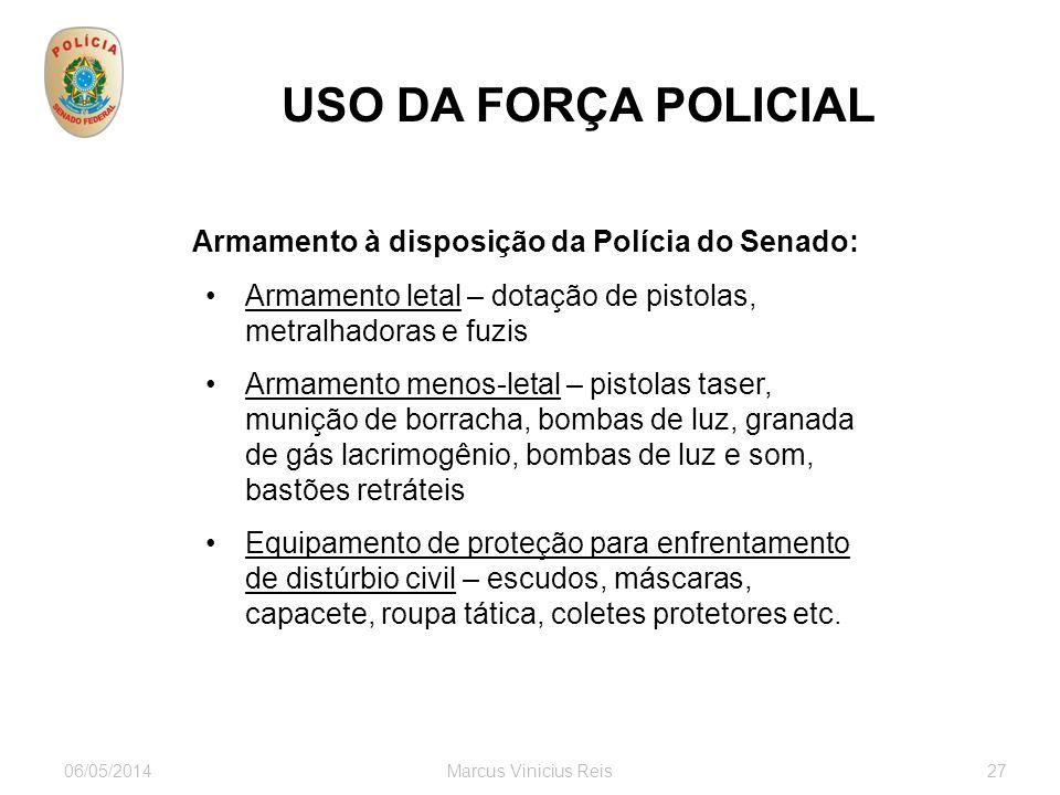 USO DA FORÇA POLICIAL Armamento à disposição da Polícia do Senado: