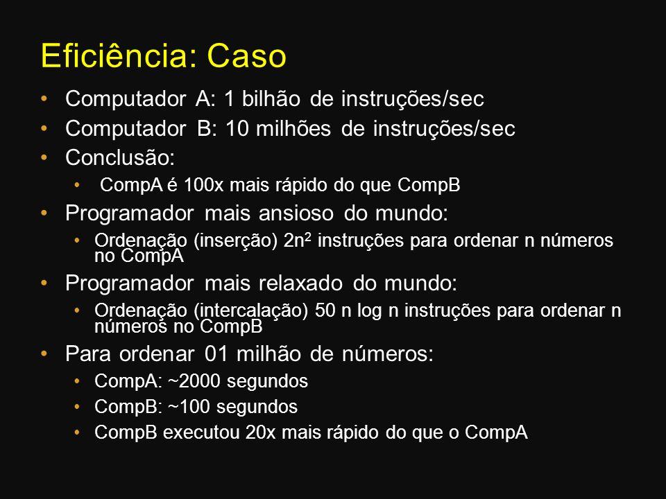 Eficiência: Caso Computador A: 1 bilhão de instruções/sec