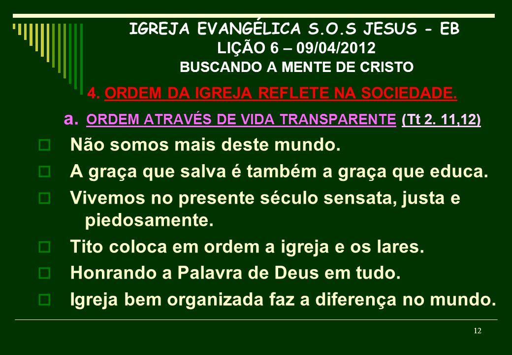 a. ORDEM ATRAVÉS DE VIDA TRANSPARENTE (Tt 2. 11,12)