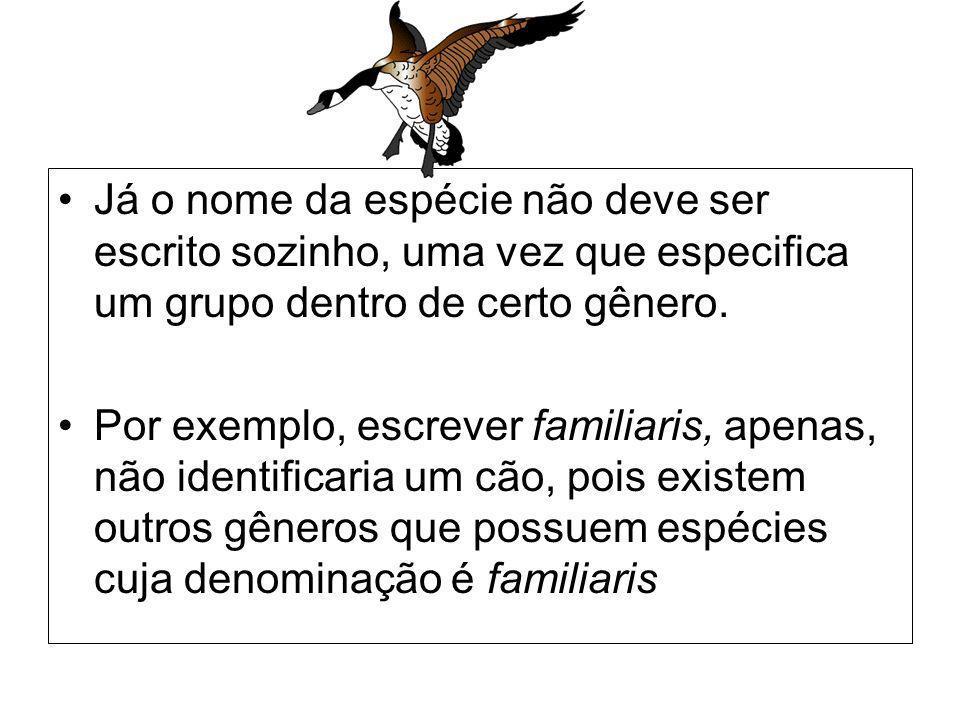 Já o nome da espécie não deve ser escrito sozinho, uma vez que especifica um grupo dentro de certo gênero.