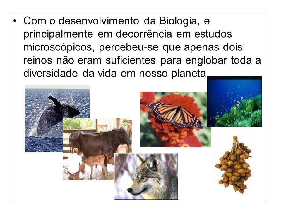 Com o desenvolvimento da Biologia, e principalmente em decorrência em estudos microscópicos, percebeu-se que apenas dois reinos não eram suficientes para englobar toda a diversidade da vida em nosso planeta