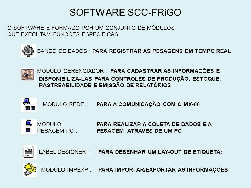 SOFTWARE SCC-FRiGO O SOFTWARE É FORMADO POR UM CONJUNTO DE MÓDULOS