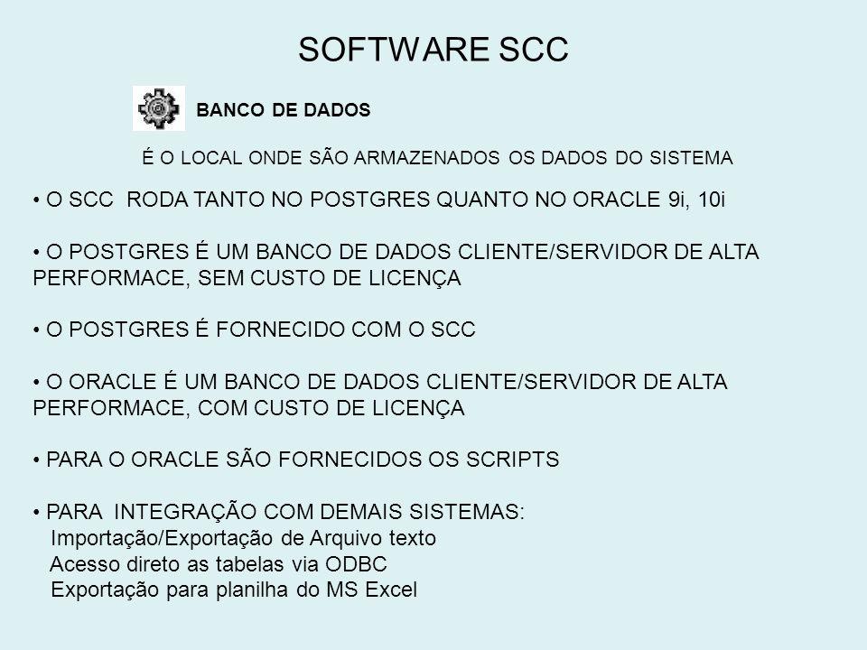 SOFTWARE SCC O SCC RODA TANTO NO POSTGRES QUANTO NO ORACLE 9i, 10i